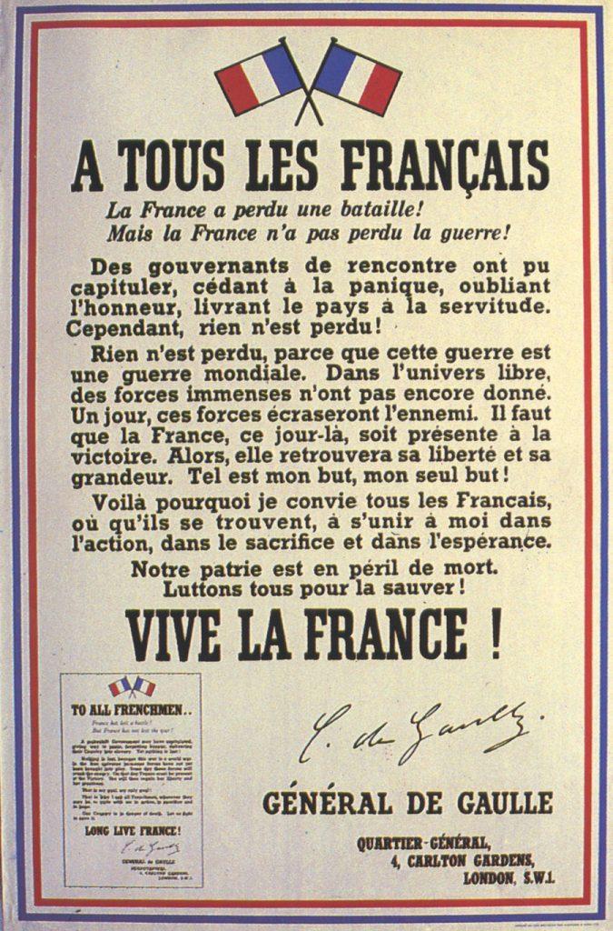 Affiche « A tous les Français » placardée sur les murs de Londres, 3 août 1940