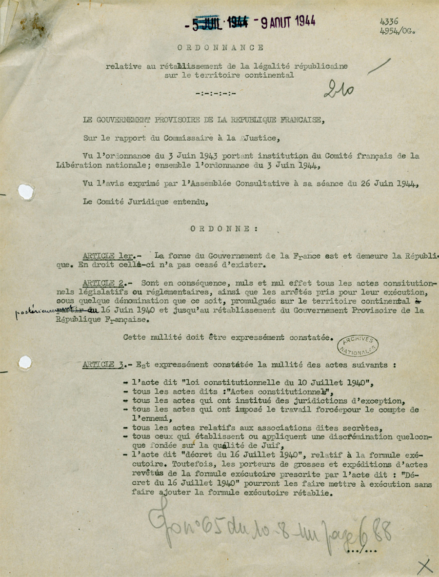 Document Lordonnance Du 9 Aot 1944