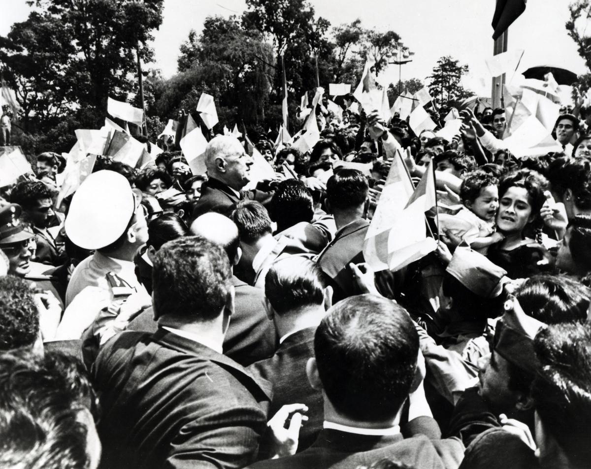 De Gaulle en visite à Mexico