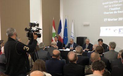 Signature de la convention de partenariat marquant la création de l'Institut Charles de Gaulle-Liban