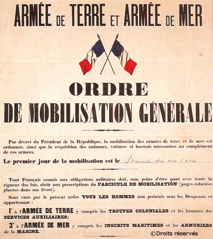01/08/1914 : Ordre de mobilisation générale en France