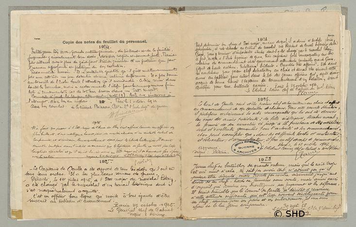 1925 : Affectation à l'Etat-Major particulier du maréchal Pétain