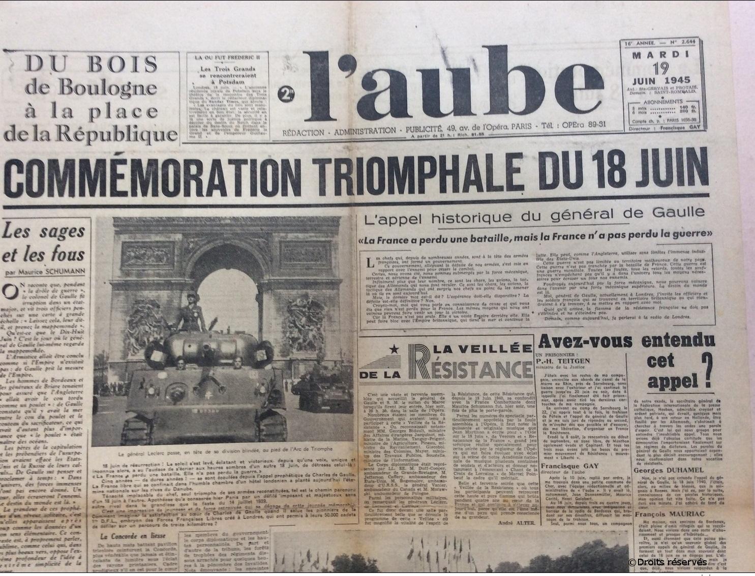 18/06/1945 : 1ère cérémonie commémorative au Mont-Valérien