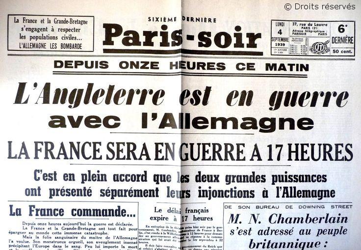 03/09/1939 : La France et la Grande-Bretagne déclarent la guerre à l'Allemagne