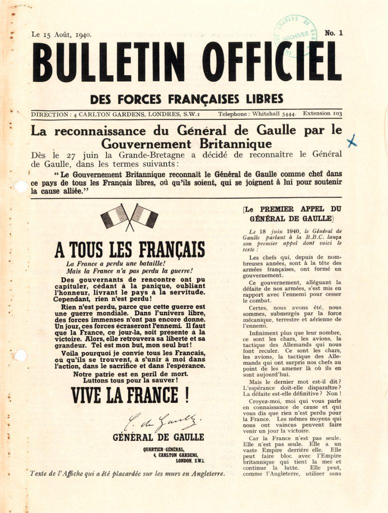 Premier numéro du Bulletin officiel de la France Libre, 15 août 1940