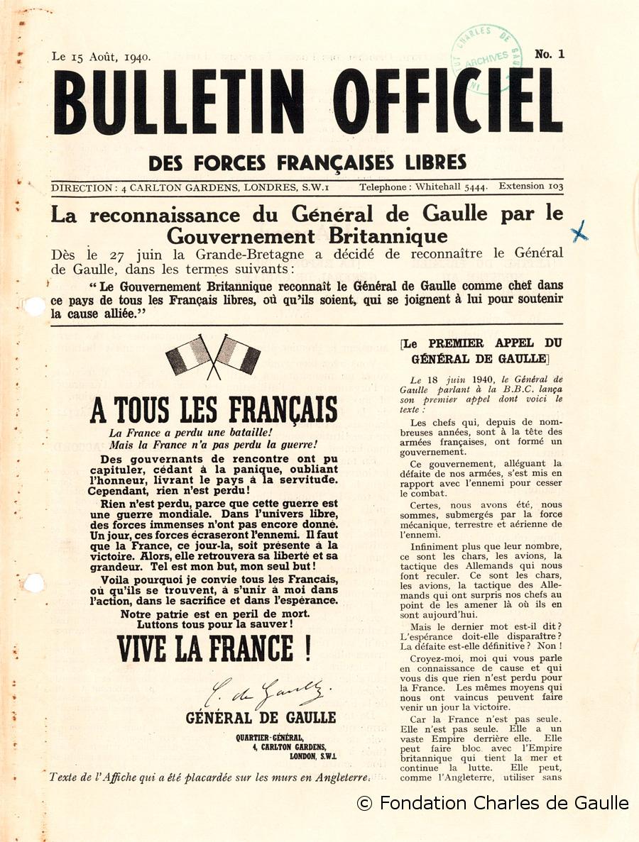 07/08/1940 : Reconnaissance de la France Libre par le gouvernement britannique
