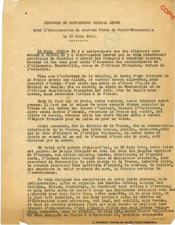 18/06/1943 : Inauguration des nouveaux émetteurs de Radio-Brazzaville