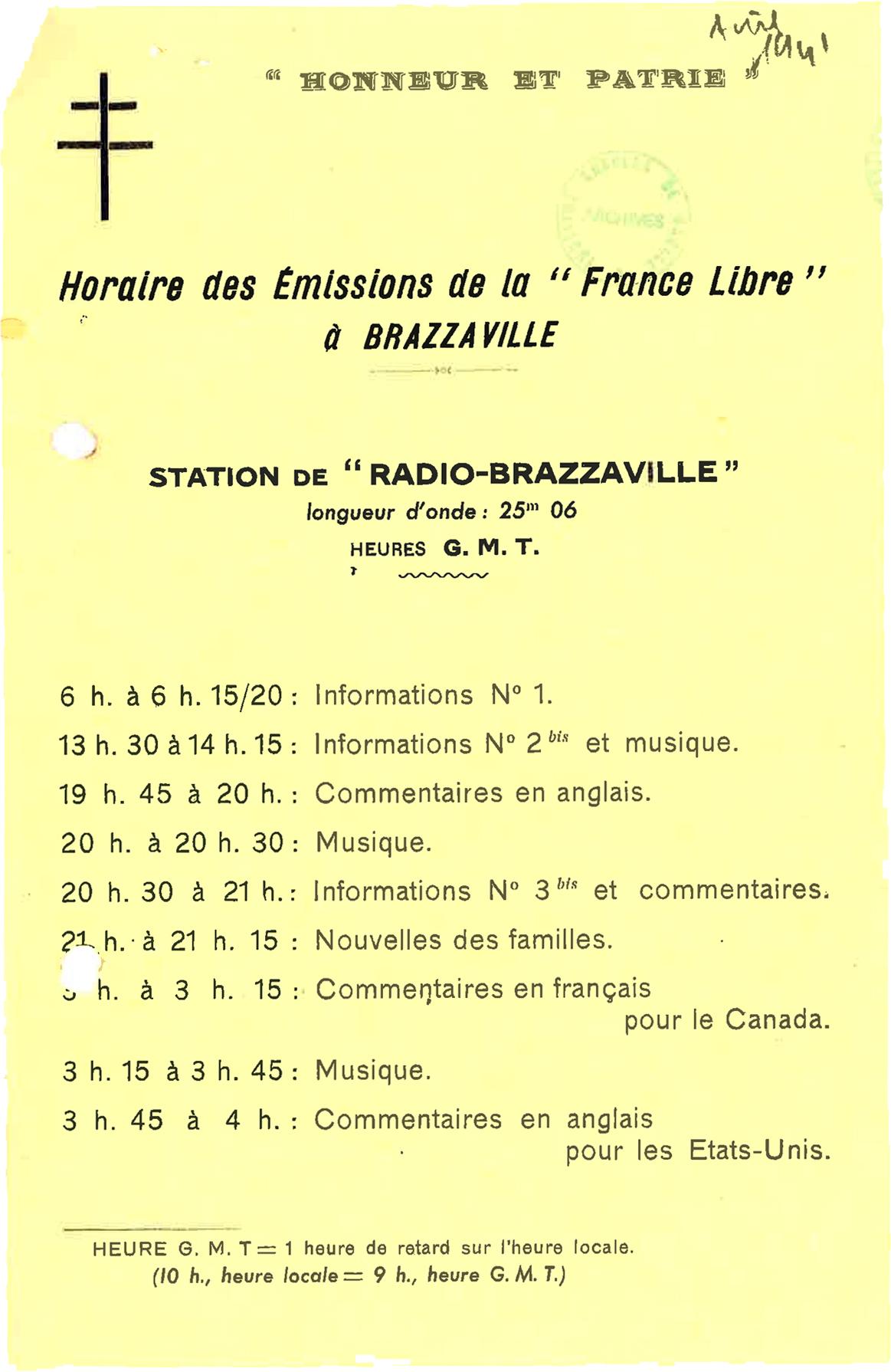 Horaires des émissions de Radio-Brazzaville, avril 1941