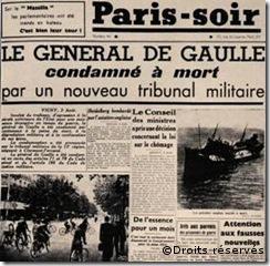 03/08/1940 : Condamnation à mort du général de Gaulle