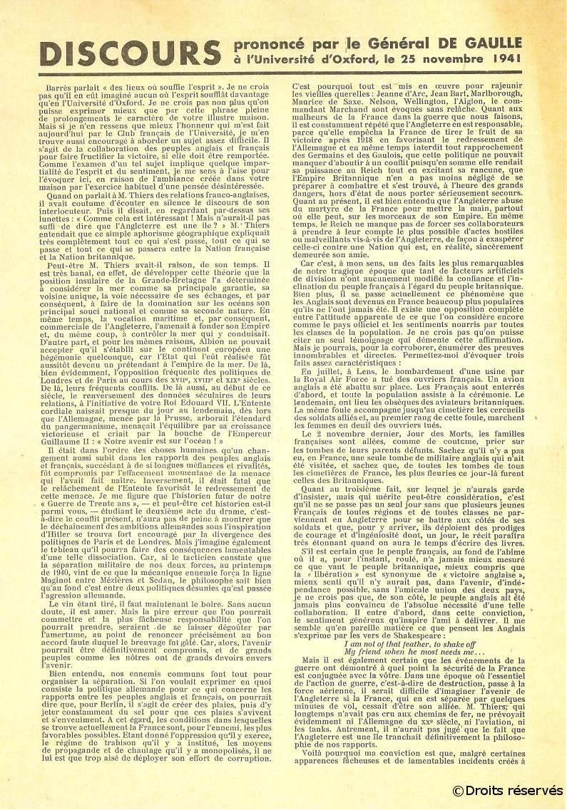 25/11/1941 : Discours d'Oxford