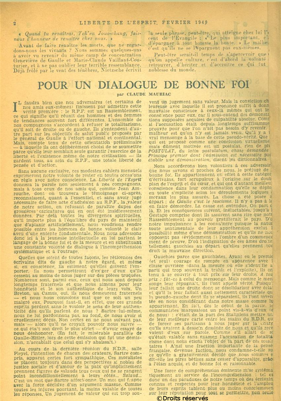01/02/1949 : Premier numéro de Liberté de l'esprit