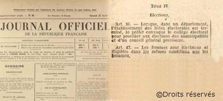 21/04/1944 : Ordonnance sur le droit de vote aux femmes