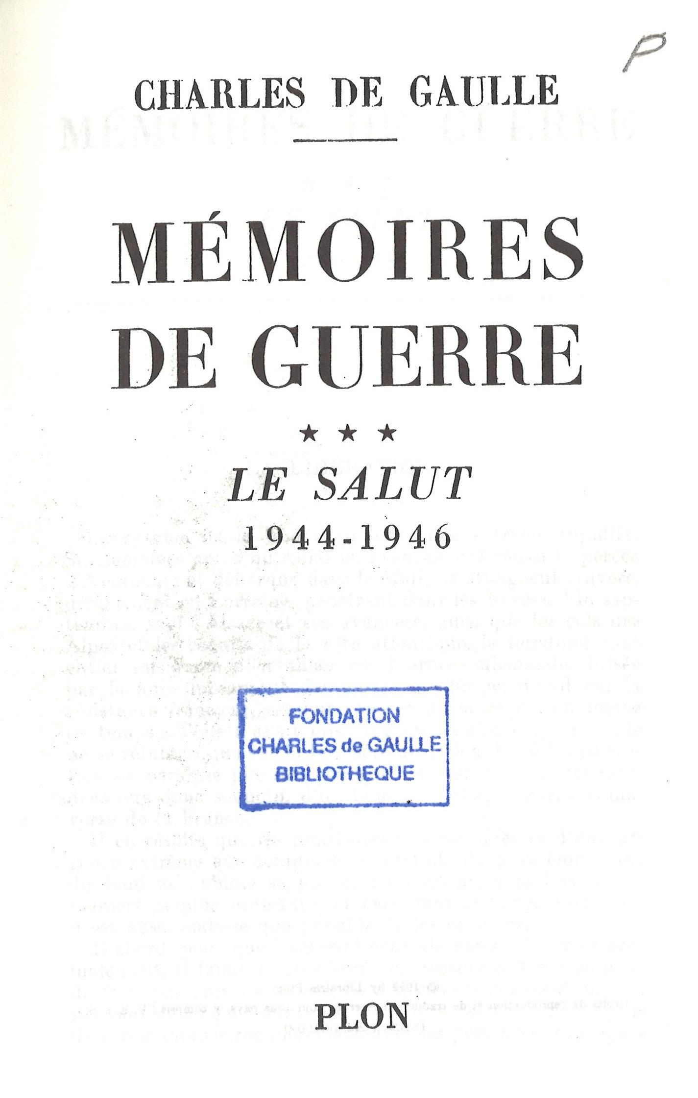 1959 : Mémoires de Guerre – Tome 3