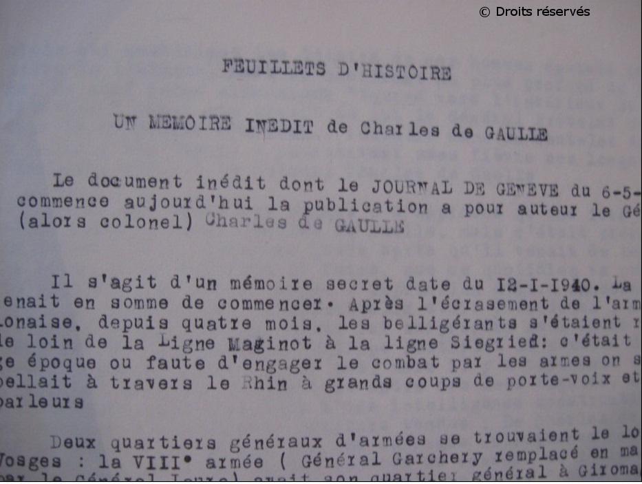 21/01/1940 : Diffusion du mémorandum de Charles de Gaulle