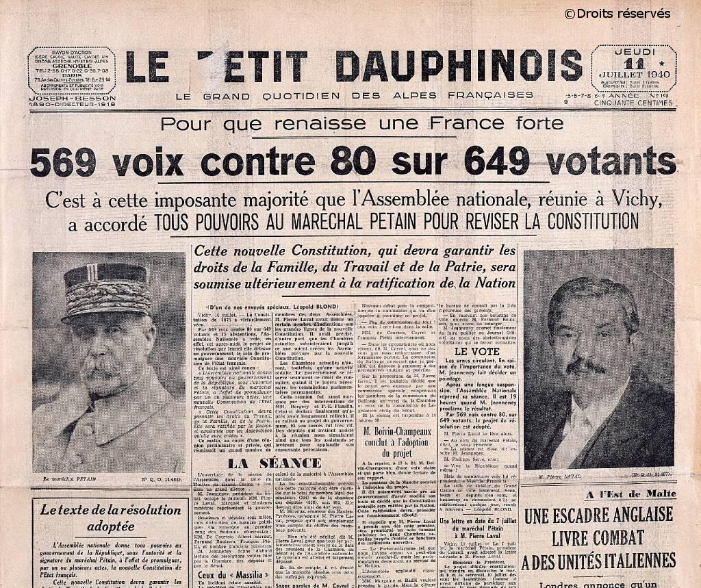 10/07/1940 : Vote des pleins pouvoirs à Pétain