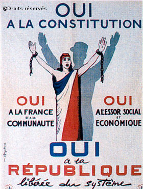 26-28/09/1958 : La Constitution de la Ve République est approuvée par référendum