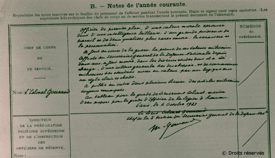 06/11/1931 : Nomination à la 3e section du Secrétariat général de la Défense nationale