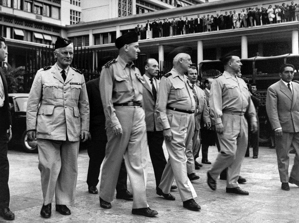 Les généraux Zeller, Challe, Salan et Jouhaud, auteurs d'une tentative de putsch à Alger, avril 1961