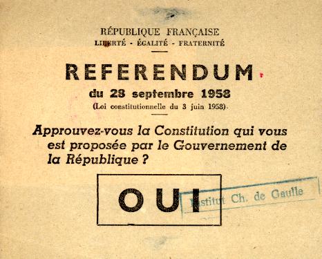 Bulletin pour le oui au référendum du 28 septembre 1958
